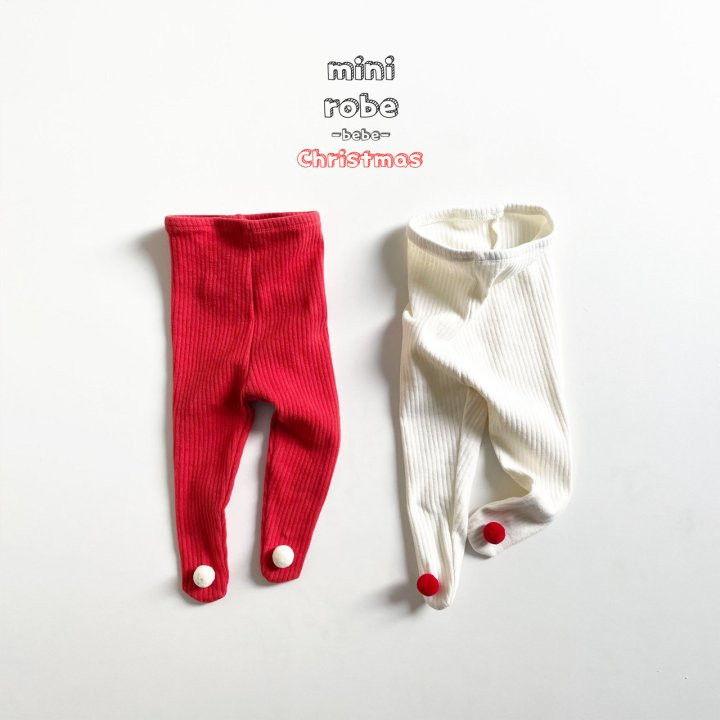 MINI ROBE - Korean Children Fashion - #Kfashion4kids - Pompom Bebe Foot Leggings - 4