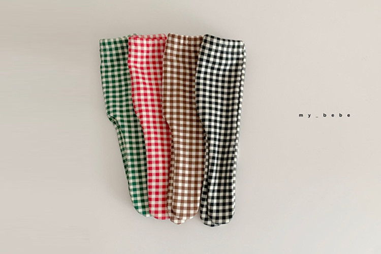 MY BEBE - BRAND - Korean Children Fashion - #Kfashion4kids - Pink Check Foot Leggings