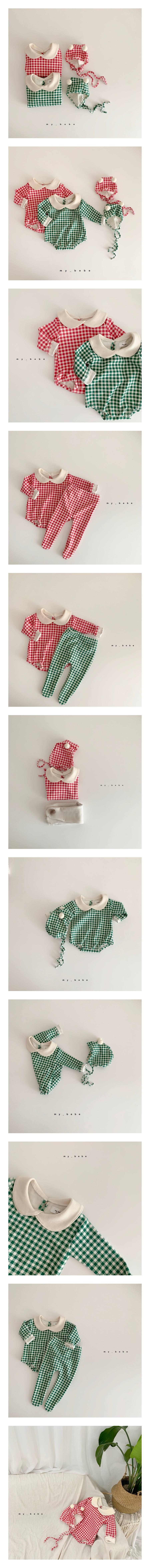MY BEBE - Korean Children Fashion - #Kfashion4kids - Baby Check Bodysuit