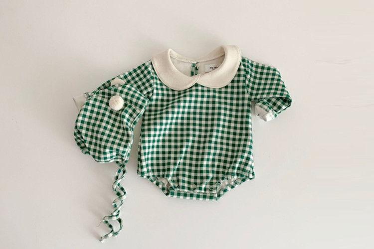 MY BEBE - BRAND - Korean Children Fashion - #Kfashion4kids - Baby Check Bodysuit