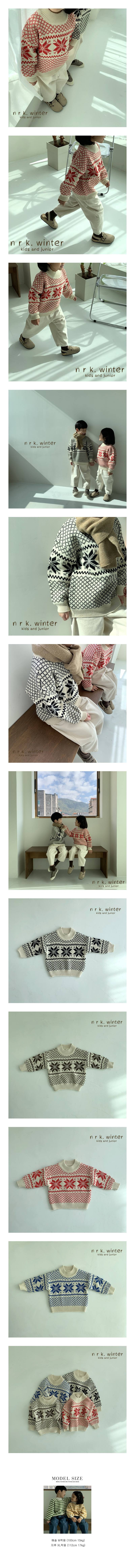 NRK - Korean Children Fashion - #Kfashion4kids - Snow Flower Knit Sweater