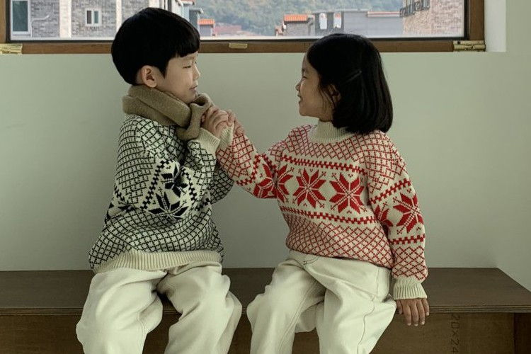 NRK - BRAND - Korean Children Fashion - #Kfashion4kids - Snow Flower Knit Sweater