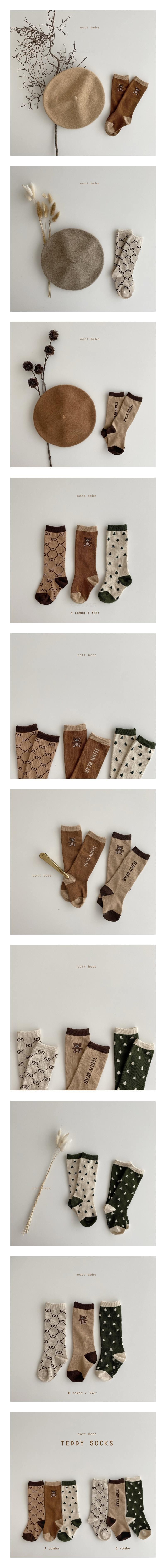 OOTT BEBE - Korean Children Fashion - #Kfashion4kids - Teddy Knee Socks [set of 3]