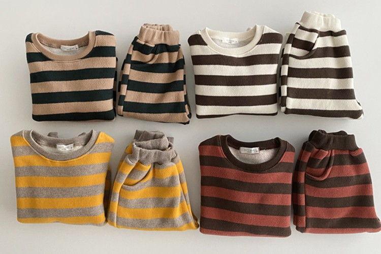 OOTT BEBE - BRAND - Korean Children Fashion - #Kfashion4kids - Soft Stripe Top Bottom Set