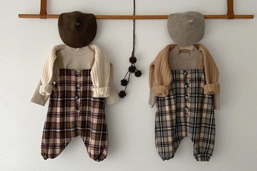 OOTT BEBE - BRAND - Korean Children Fashion - #Kfashion4kids - Check Overalls