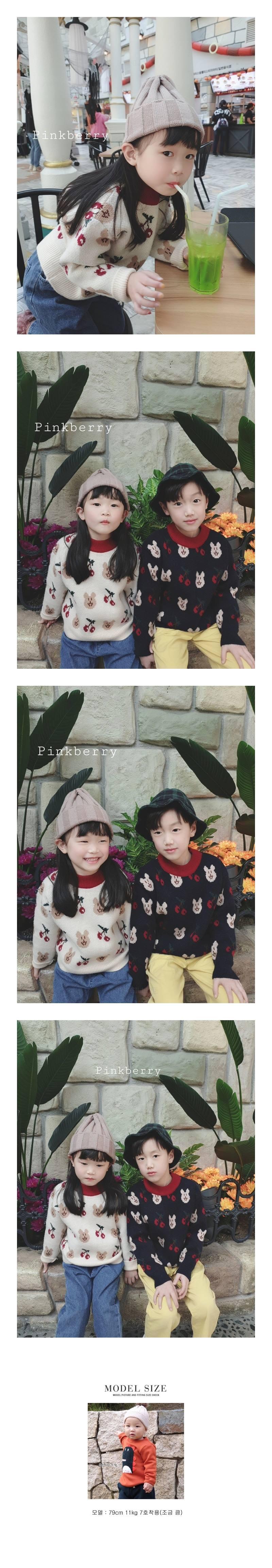 PINK BERRY - Korean Children Fashion - #Kfashion4kids - Cherry Bear Knit Pullover