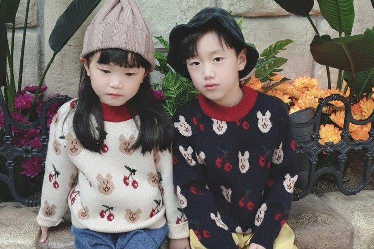 PINK BERRY - BRAND - Korean Children Fashion - #Kfashion4kids - Cherry Bear Knit Pullover