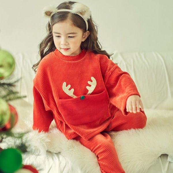 MIMICO - BRAND - Korean Children Fashion - #Kfashion4kids - Christmas Top Bottom Set