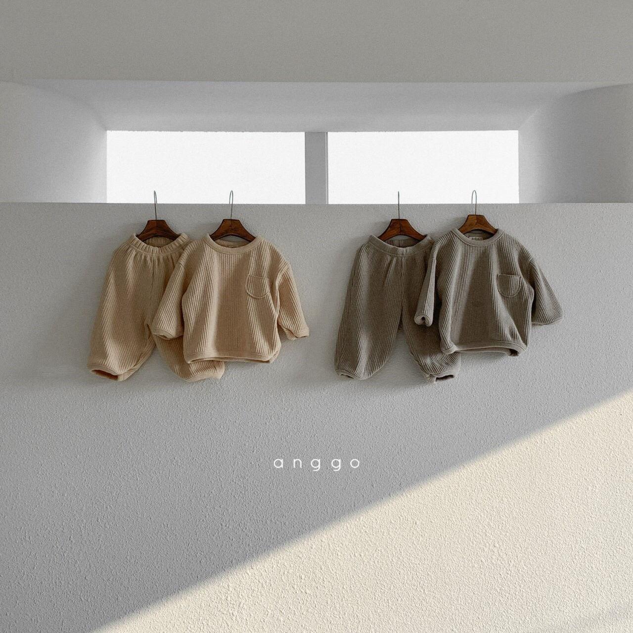 ANGGO - Korean Children Fashion - #Kfashion4kids - Croissant Top Bottom Set