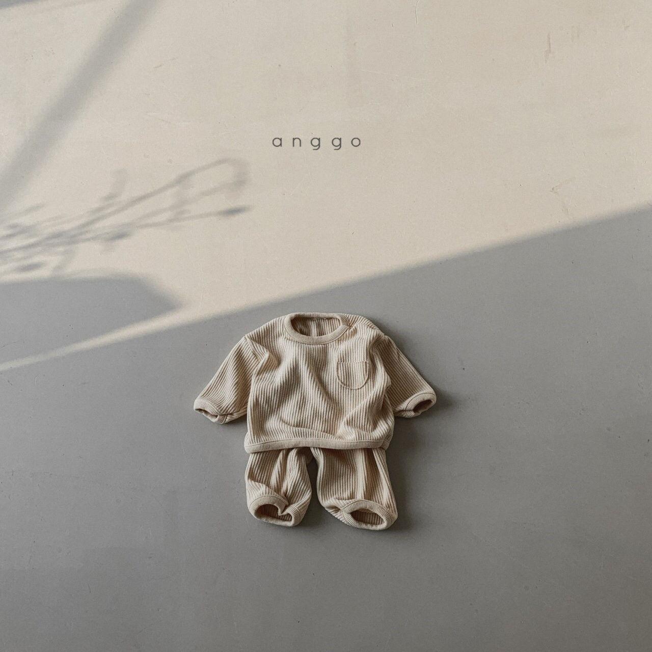 ANGGO - Korean Children Fashion - #Kfashion4kids - Croissant Top Bottom Set - 2
