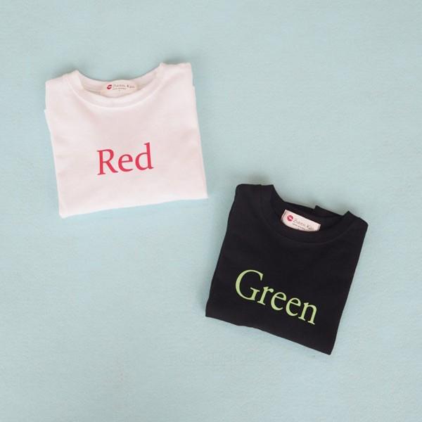 BUBBLE KISS - BRAND - Korean Children Fashion - #Kfashion4kids - Color Lettering Tee
