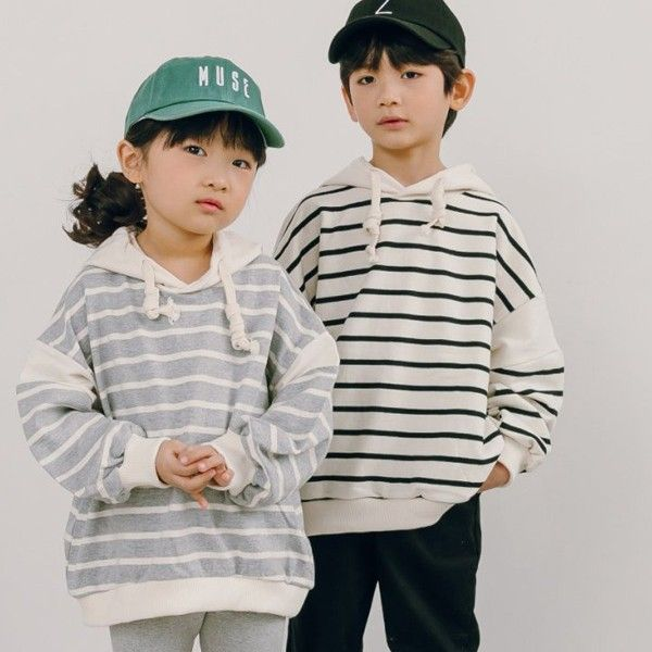 CHURROS - BRAND - Korean Children Fashion - #Kfashion4kids - Stripe Hood Top