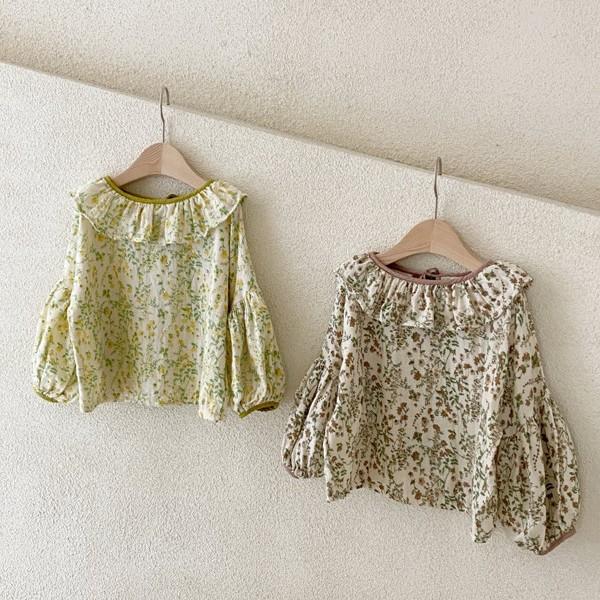 COTTON HOUSE - BRAND - Korean Children Fashion - #Kfashion4kids - Frill Flower Blouse