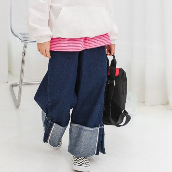 DORE DORE - BRAND - Korean Children Fashion - #Kfashion4kids - Roll-up Wide Pants