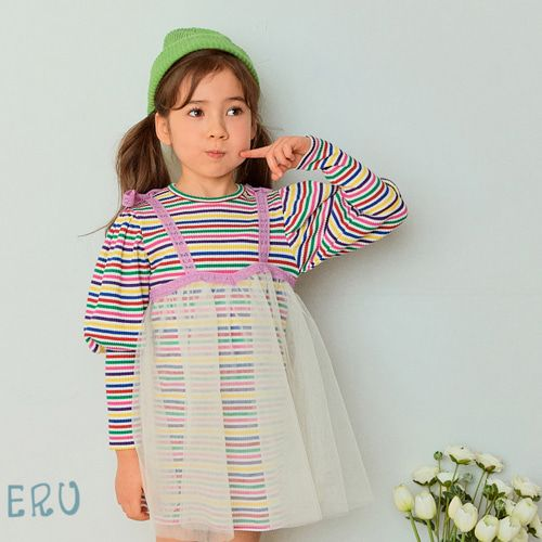 E.RU - BRAND - Korean Children Fashion - #Kfashion4kids - Rainbow Cha One-piece