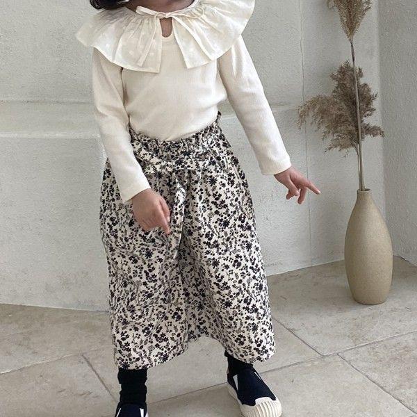 GREEN TOMATO - BRAND - Korean Children Fashion - #Kfashion4kids - Flower Ribbon Wide Pants