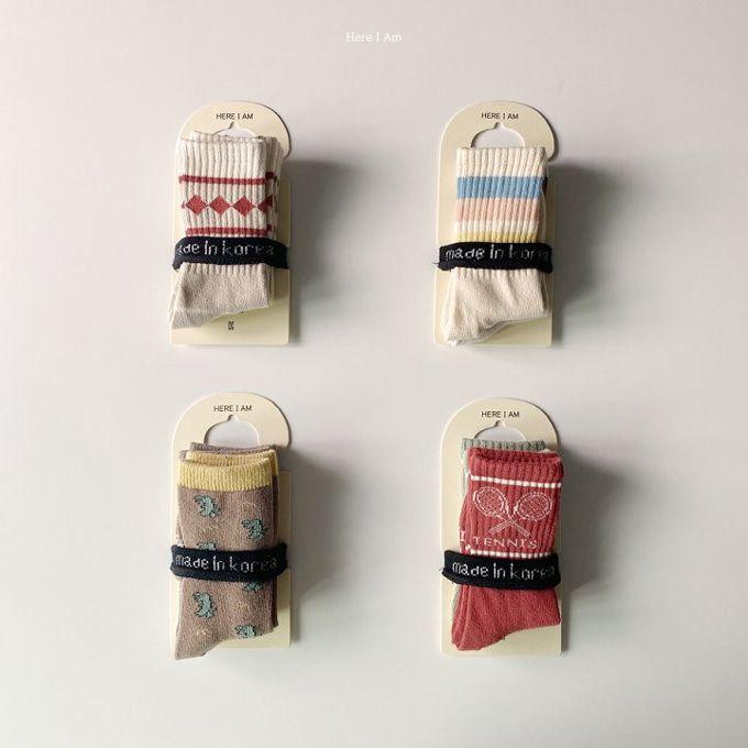 HERE I AM - BRAND - Korean Children Fashion - #Kfashion4kids - Here I Am Socks [set of 2]