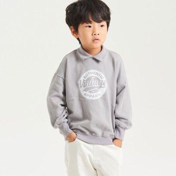 KURENARD - BRAND - Korean Children Fashion - #Kfashion4kids - Collar Vintage Sweatshirt