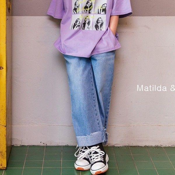 MATILDA & LEE - BRAND - Korean Children Fashion - #Kfashion4kids - Roll-up Denim Pants
