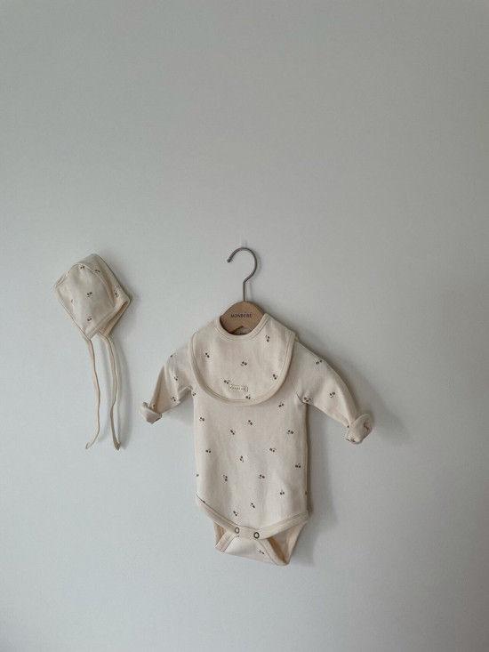MONBEBE - Korean Children Fashion - #Kfashion4kids - Pastel Cherry Romper with Bib & Bonnet - 3