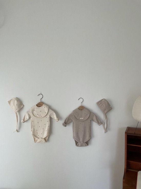 MONBEBE - Korean Children Fashion - #Kfashion4kids - Pastel Cherry Romper with Bib & Bonnet - 6