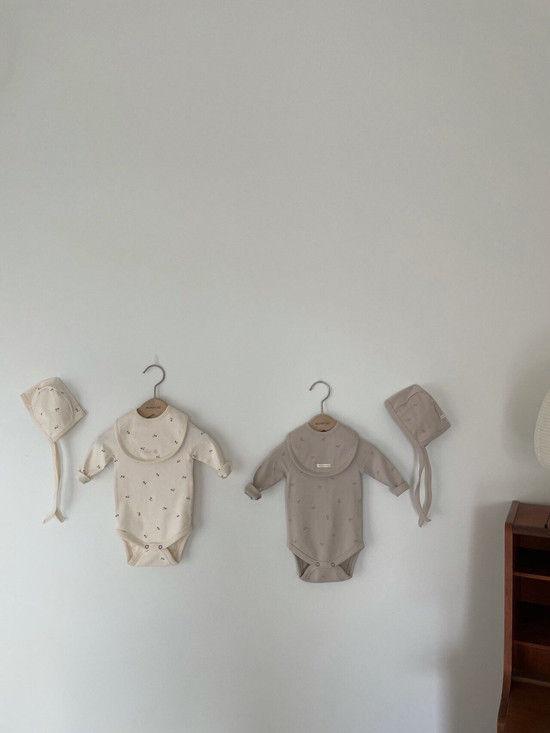 MONBEBE - Korean Children Fashion - #Kfashion4kids - Pastel Cherry Romper with Bib & Bonnet - 7