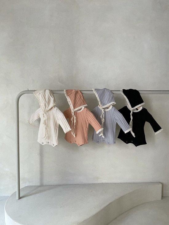 MONBEBE - Korean Children Fashion - #Kfashion4kids - Croiffle Bodysuit with Bonnet
