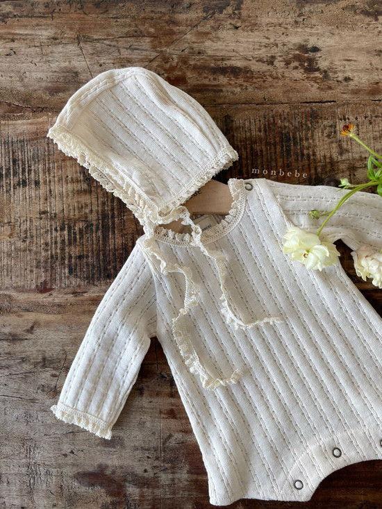 MONBEBE - Korean Children Fashion - #Kfashion4kids - Croiffle Bodysuit with Bonnet - 10