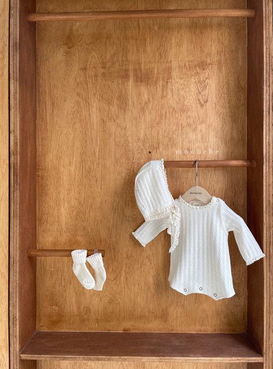 MONBEBE - Korean Children Fashion - #Kfashion4kids - Croiffle Bodysuit with Bonnet - 11