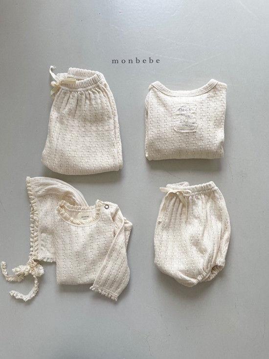 MONBEBE - Korean Children Fashion - #Kfashion4kids - Croiffle Bodysuit with Bonnet - 12