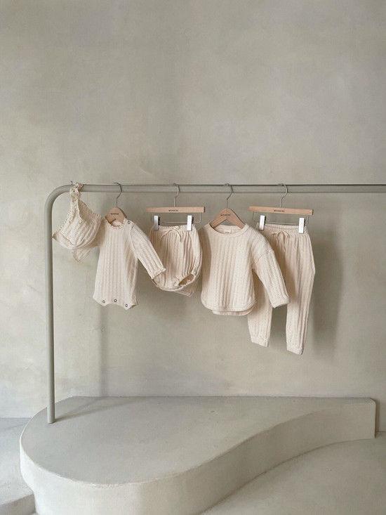MONBEBE - Korean Children Fashion - #Kfashion4kids - Croiffle Bodysuit with Bonnet - 3