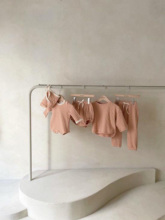 MONBEBE - Korean Children Fashion - #Kfashion4kids - Croiffle Bodysuit with Bonnet - 4