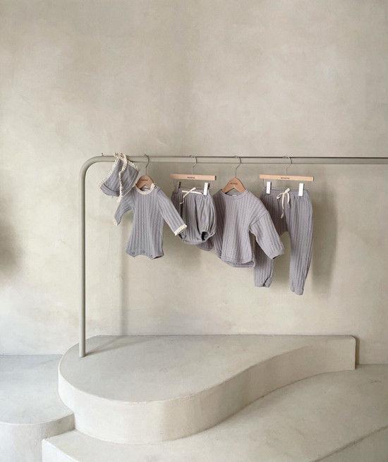 MONBEBE - Korean Children Fashion - #Kfashion4kids - Croiffle Bodysuit with Bonnet - 5