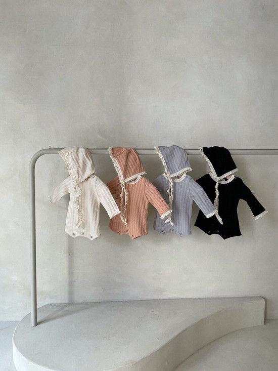 MONBEBE - Korean Children Fashion - #Kfashion4kids - Croiffle Bodysuit with Bonnet - 8