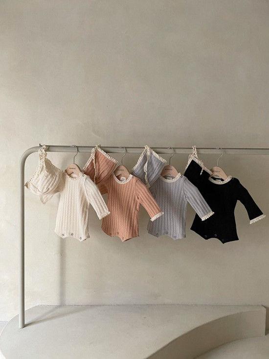 MONBEBE - BRAND - Korean Children Fashion - #Kfashion4kids - Croiffle Bodysuit with Bonnet