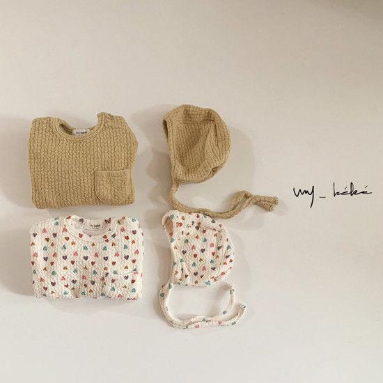 MY BEBE - BRAND - Korean Children Fashion - #Kfashion4kids - Twist Bodysuit with Hat
