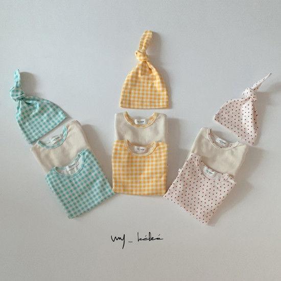 MY BEBE - Korean Children Fashion - #Kfashion4kids - Two Romper Set with Hat