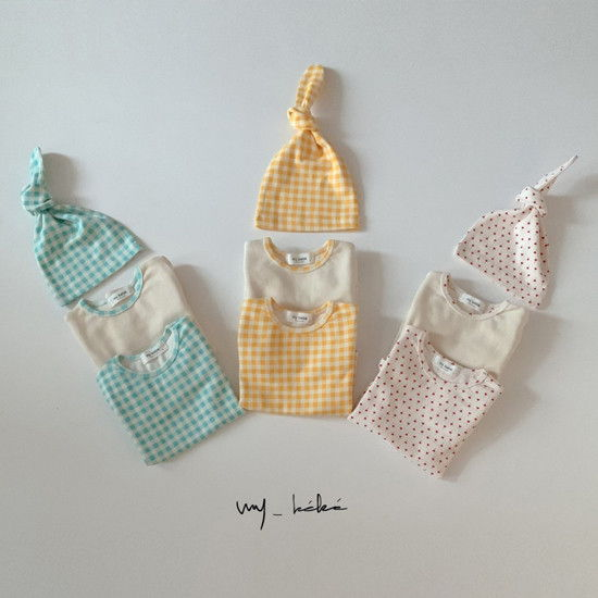 MY BEBE - BRAND - Korean Children Fashion - #Kfashion4kids - Two Romper Set with Hat