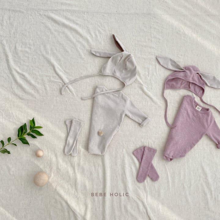 BEBE HOLIC - Korean Children Fashion - #Kfashion4kids - Rabbit Bodysuit with Bonnet & Socks - 2