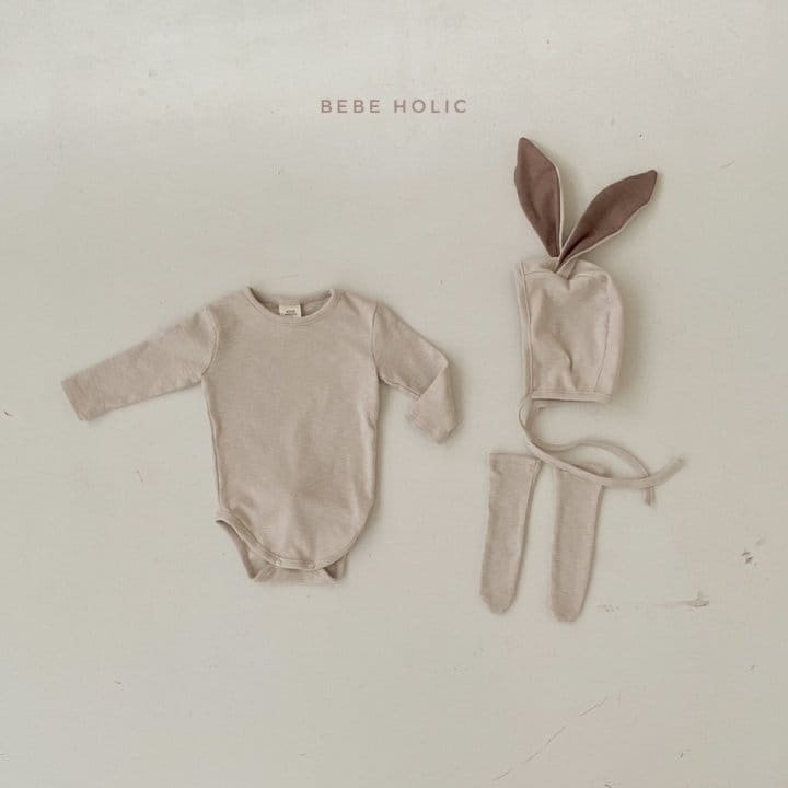BEBE HOLIC - Korean Children Fashion - #Kfashion4kids - Rabbit Bodysuit with Bonnet & Socks - 9