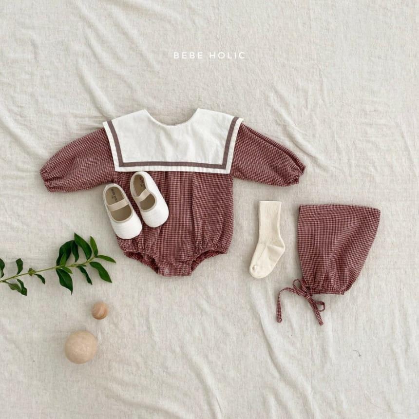 BEBE HOLIC - Korean Children Fashion - #Kfashion4kids - Candy Check Bodysuit with Bonnet