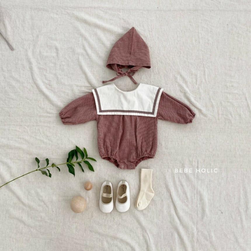 BEBE HOLIC - Korean Children Fashion - #Kfashion4kids - Candy Check Bodysuit with Bonnet - 2