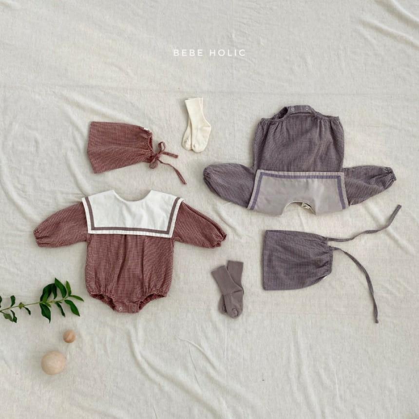 BEBE HOLIC - Korean Children Fashion - #Kfashion4kids - Candy Check Bodysuit with Bonnet - 5