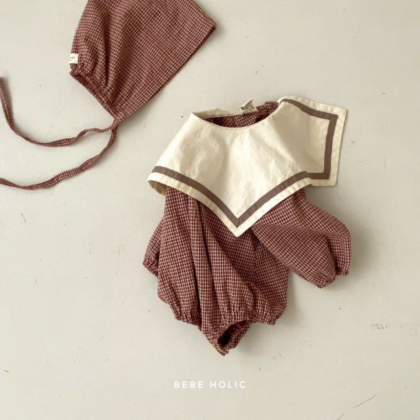 BEBE HOLIC - Korean Children Fashion - #Kfashion4kids - Candy Check Bodysuit with Bonnet - 6