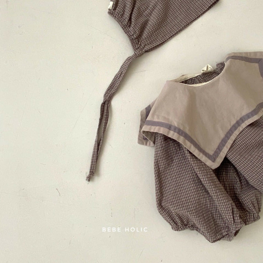 BEBE HOLIC - Korean Children Fashion - #Kfashion4kids - Candy Check Bodysuit with Bonnet - 7