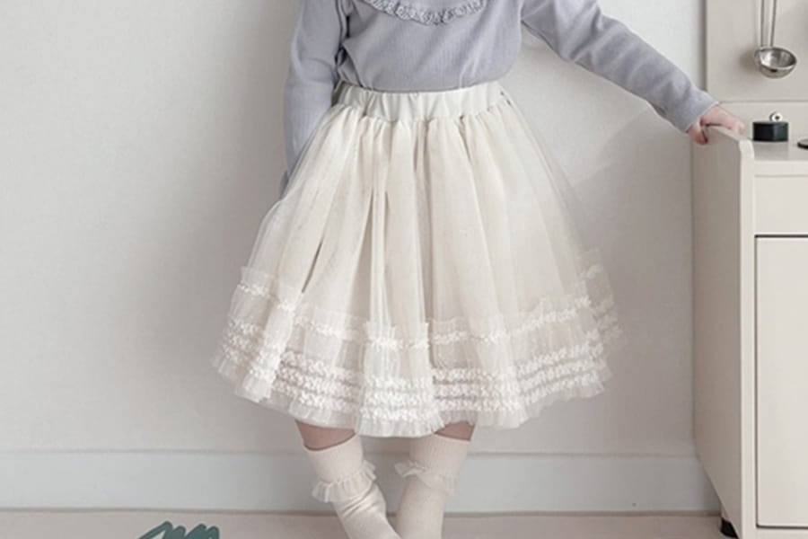 BONALOI - BRAND - Korean Children Fashion - #Kfashion4kids - Coucher Mesh Skirt