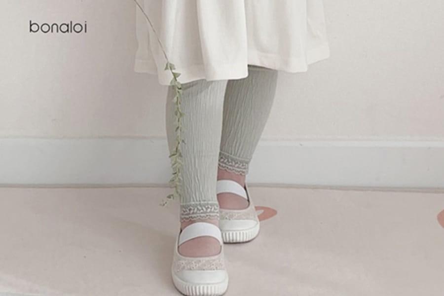 BONALOI - BRAND - Korean Children Fashion - #Kfashion4kids - Wrinkle Lace Leggings