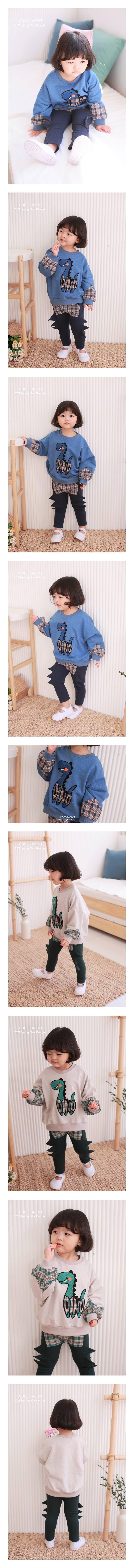 COCO RABBIT - Korean Children Fashion - #Kfashion4kids - Sleeve Dinosaur Sweatshirt