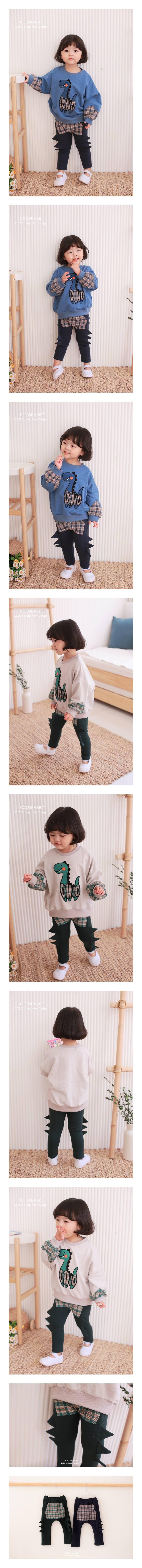 COCO RABBIT - Korean Children Fashion - #Kfashion4kids - Check Dinosaur Pants