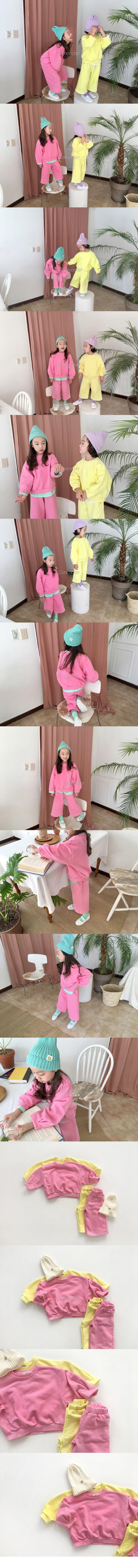 CONCOCTER - Korean Children Fashion - #Kfashion4kids - Sleeve Winkle Top Bottom Set - 2